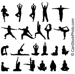 meditation silhouettes set