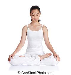 meditation - female asian teenager doing meditation against...