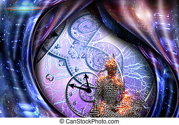Meditation - Surrealism. Figure of man in lotus pose in...