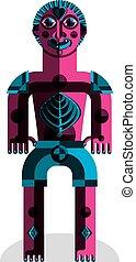 Meditation theme vector illustration, drawing of a creepy...