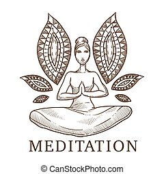 Meditation titled sketch of a woman in a lotus pose