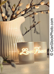 Meditation votive candles creating a relaxing atmosphere -...