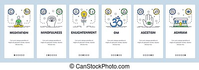 Meditation web site and mobile app onboarding screens. Menu banner vector template for website and application development. Yoga, concentration, buddhism symbols, meditation app. Thin line flat style.