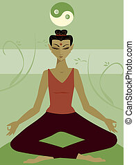 Meditation - Woman meditates in the lotus position - in a...