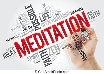 Meditation word cloud with marker