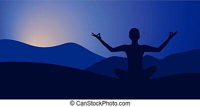 sunrise meditation vector illustration of a woman