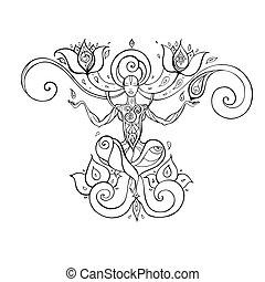 Meditation. Yoga Silhouette. - Yoga Silhouette. Hand drawn...