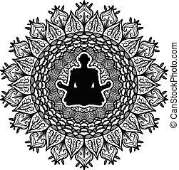 Meditation, yoga symbol vector illustration