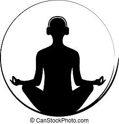 meditationg, słuchawki, kobieta, yoga