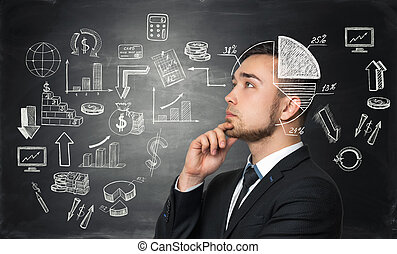 Meditative businessman is looking for the best solution for business development process