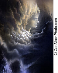 meditative face and stormy clouds - surreal canvas painting...