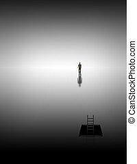 Meditative journey - Man climbs into white space