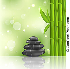 Meditative oriental background with bamboo and heap stones, spa therapy