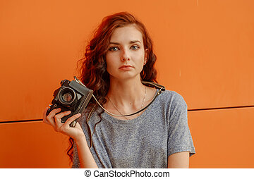 Meditative Teen Girl With Vintage Camera In Hands - Broody...