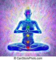 meditazione, -, aura, chakras