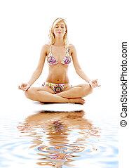meditazione, bianco, sabbia, #2