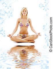 meditazione, bianco, sabbia