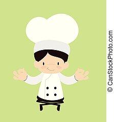 meditazione, -, cartone animato, carino, chef