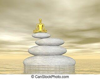 meditazione, equilibrio, -, render, 3d