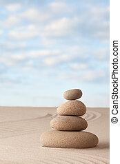 meditazione, giardino zen, fondo