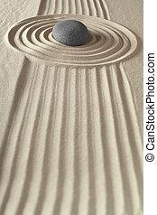 meditazione, giardino zen, roccia