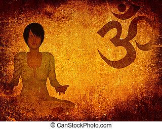 meditazione, grunge, fondo