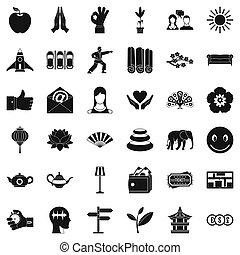meditazione, stile, set, yoga, icone semplici