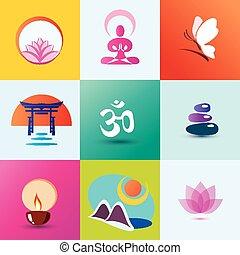 meditazione, yoga, terme, concetto, orientale, set, icone