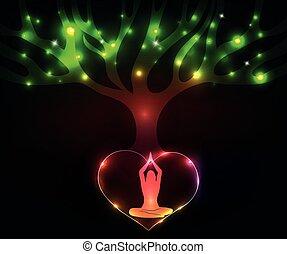 meditera, kvinna, träd, färgrik, under