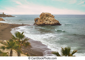 mediteranean, praia, dia, nebuloso, pessoas
