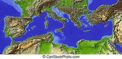 mediterráneo, protegidode la luz, mapa en relieve