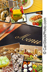 mediterrâneo, alimento saudável, &, menu, montagem