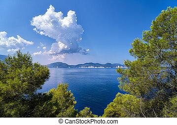 mediterrâneo, dramático, nuvens, paisagem, oceânicos