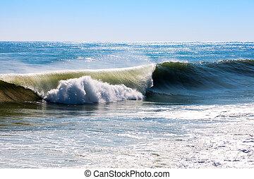 mediterrâneo, durante, tempestade, onda
