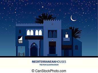 mediterrâneo, estilo, estrelado, sobre, casas, marroquino, lua, coqueiros, fundo, noturna, árabe, ou, vista