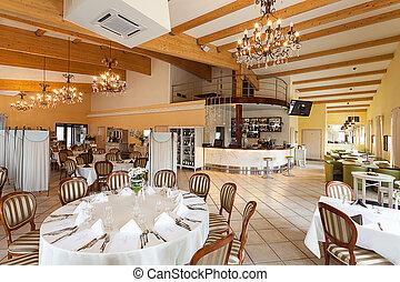 mediterrâneo, interior, -, luxuoso, restaurante