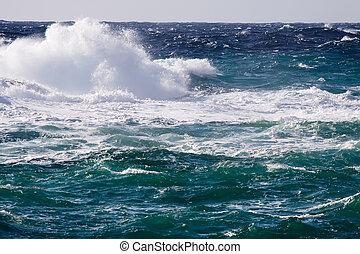 mediterrâneo, onda, durante, tempestade