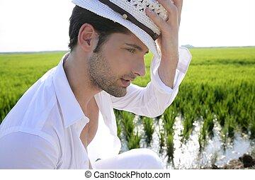 mediterrâneo, retrato, chapéu branco, inmeadow, homem