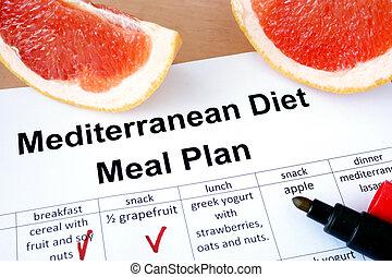 mediterraan dieet, en, grapefruit