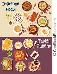 Mediterranean and asian cuisine icon set design -...