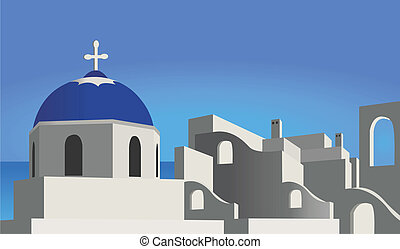 Illustration of a church and mediterranean village