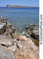 Mediterranean beach at Elounda. Crete. Greece