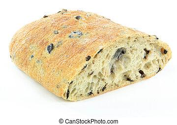 Cut on half Loaf Mediterranean Ciabatta black olive bread over white background.