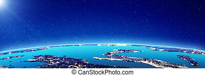 Mediterranean city lights. Elements of this image furnished ...