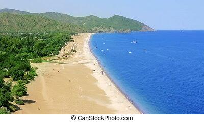 mediterranean coast from high angle in Olympos, Antalya, Turkey