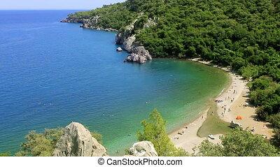 Olympos, Antalya - mediterranean coast from high angle in...