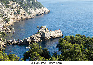 Overview of creeks and rock known as Underwater on Mediterranean french coast, near Bandol and Marseille