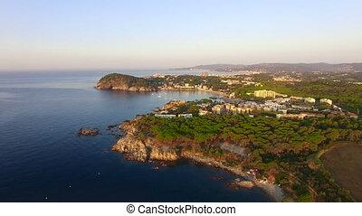 Mediterranean Coast Seaside Aerial Drone Costa Brava -...
