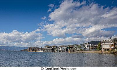 Mediterranean coastal resort town