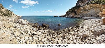 Mediterranean coastline landscape panoramic view in Alicante, Sp